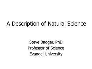 A Description of Natural Science