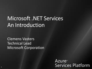 Microsoft .NET Services An Introduction