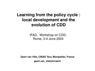 Learning from the policy cycle : local development and the evolution of CDD
