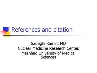 References and citation