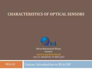 Characteristics of Optical Sensors