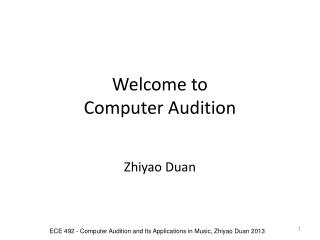 Welcome to  Computer Audition