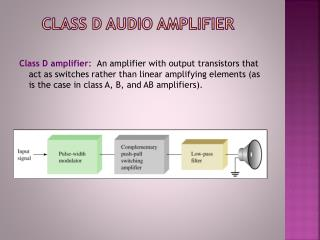 Class  D Audio Amplifier