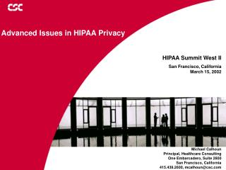 Advanced Issues in HIPAA Privacy