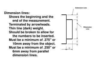 Dimension lines: Shows the beginning and the end of the measurement. Terminated by arrowheads.