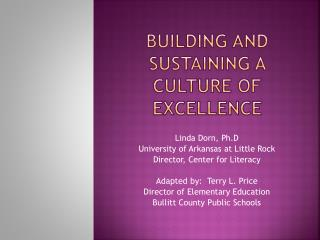 Building and sustaining a culture of excellence