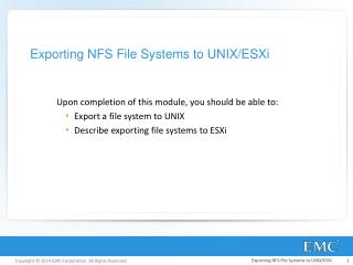 Exporting NFS File Systems to UNIX/ESXi