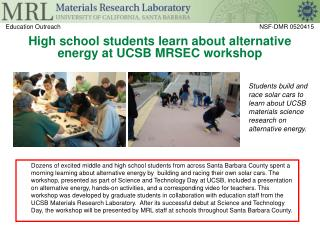 High school students learn about alternative energy at UCSB MRSEC workshop