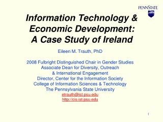 Information Technology & Economic Development:  A Case Study of Ireland