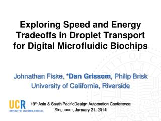 Exploring Speed and Energy Tradeoffs in Droplet Transport for Digital Microfluidic Biochips