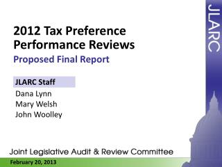 2012 Tax Preference Performance Reviews