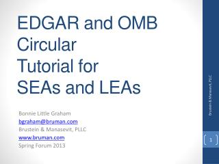 EDGAR and OMB  Circular  Tutorial for SEAs and LEAs
