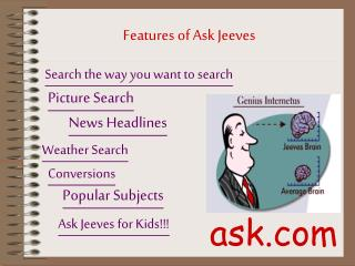 Features of Ask Jeeves