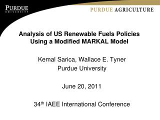 Analysis of US Renewable Fuels Policies Using a Modified MARKAL Model