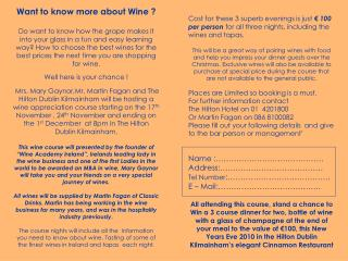 Want to know more about Wine ?