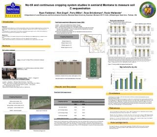No-till and continuous cropping system studies in semiarid Montana to measure soil C sequestration