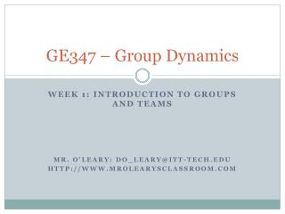 GE347 – Group Dynamics