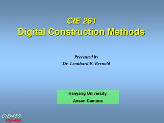 CIE 261 Digital Construction Methods