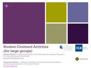 Student-Centered Activities  (for large groups)