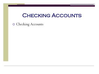 Checki ng Accounts