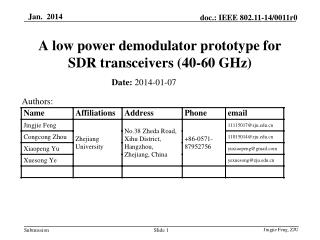 A low power demodulator prototype for SDR transceivers (40-60 GHz)