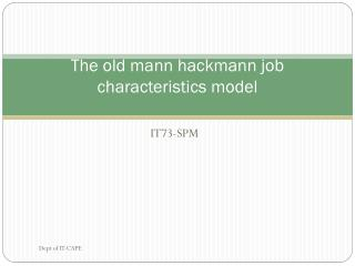 The old mann hackmann job characteristics model