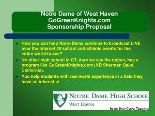 Notre Dame of West Haven GoGreenKnights Sponsorship Proposal