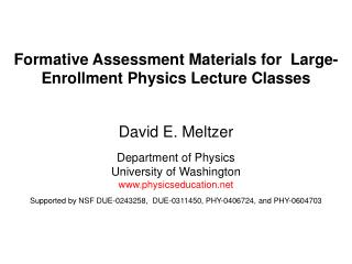 Formative Assessment Materials for  Large-Enrollment Physics Lecture Classes