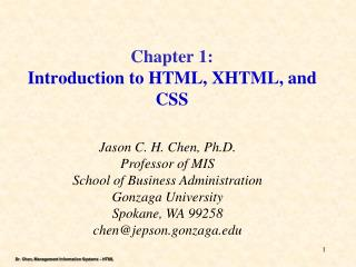 Chapter 1: Introduction to HTML, XHTML, and CSS