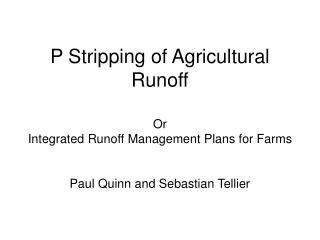 P Stripping of Agricultural Runoff