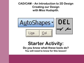 CAD/CAM – An Introduction to 2D Design Creating our Design with Miss Hudspith.