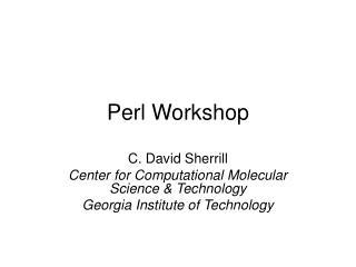 Perl Workshop