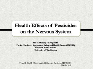 Health Effects of Pesticides  on the Nervous System