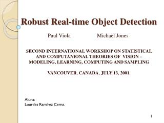 Robust  Real-time  Object Detection