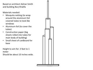 Based on architect Adrian Smith and building  Burj Khalifa Materials needed: