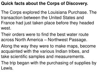 Quick facts about the Corps of Discovery.