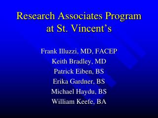 Research Associates Program at St. Vincent's