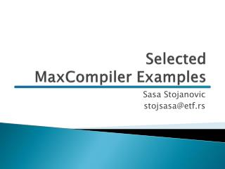 Selected  MaxCompiler  Examples