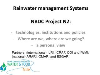Rainwater management Systems  NBDC Project N2: