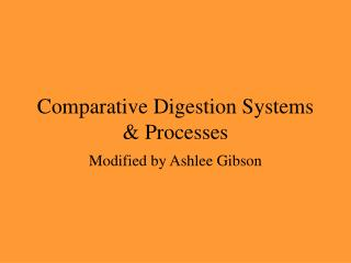 Comparative Digestion Systems  & Processes