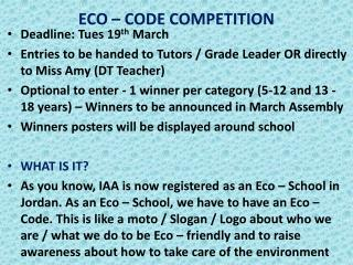 ECO – CODE COMPETITION