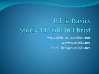 Bible Basics Study  11: Life In Christ