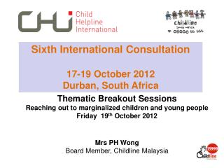 Thematic Breakout Sessions  Reaching out to marginalized children and young people