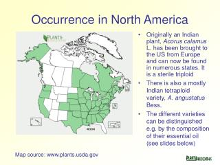 Occurrence in North America