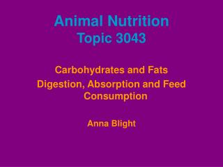 Animal Nutrition Topic 3043