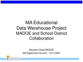 MA Education Data Warehouse