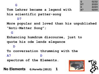 G   Tom Lehrer became a legend with his scientific patter-song      D7