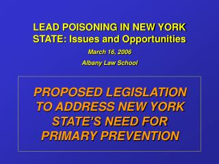 LEAD POISONING IN NEW YORK STATE: Issues and Opportunities March 16, 2006 Albany Law School