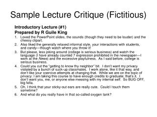 Sample Lecture Critique (Fictitious)
