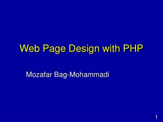 Web Page Design with PHP